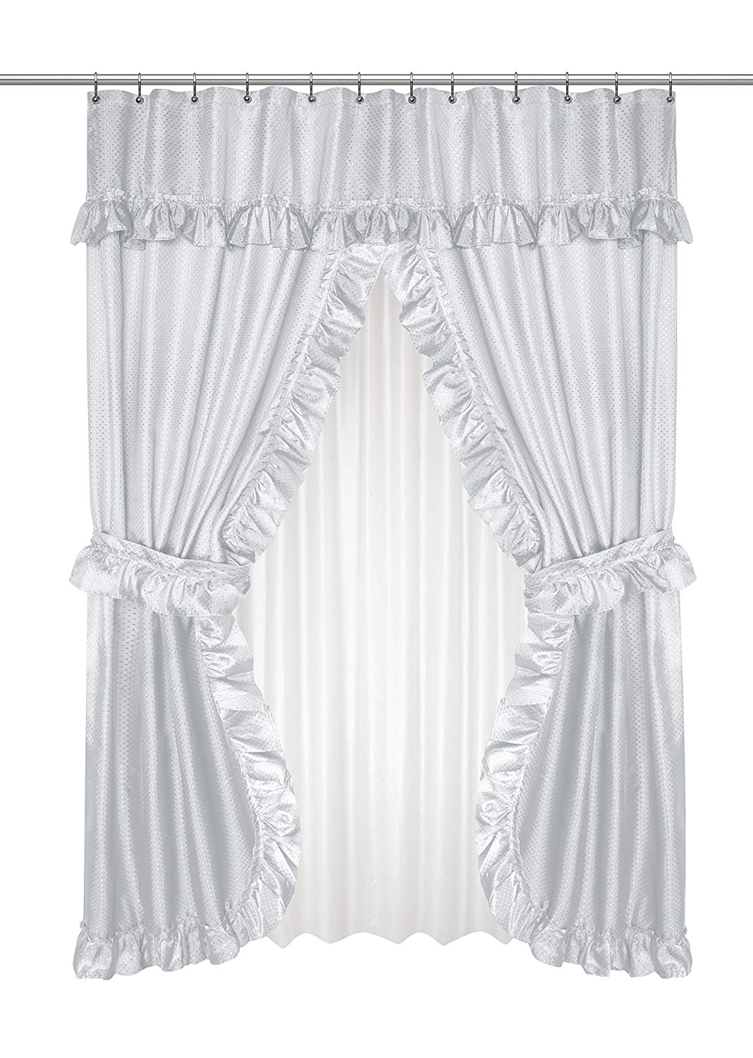 """Black Ruffled Double Swag Shower Curtain /& Liner 70/"""" x 72/"""" w//12 Roller Rings"""
