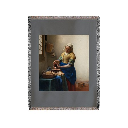 Adult Milkmaid (The Milkmaid - Masterpiece Classic - Artist: Johannes Vermeer c. 1660 (60x80 Woven Chenille Yarn)