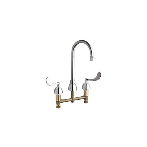"Chicago Faucets 786-E2805-5AB Commercial Grade High Arch Kitchen Faucet with Wrist Blade Handles - 8"" Faucet Centers (Eco-Friendly Flow Rate)"