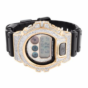 14K Rose Gold Finish Digital Silicon Band Dw6900 Lab Diamond G Shock Watch