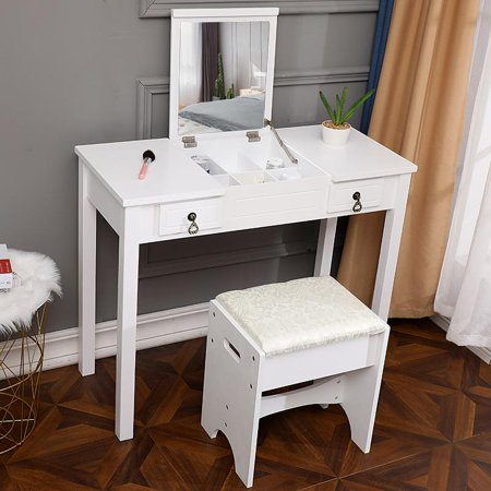 Ktaxon White Vanity Set with Stool,Makeup Table with 2 Drawers & Flip-top Mirror, Bedroom Dresser ()