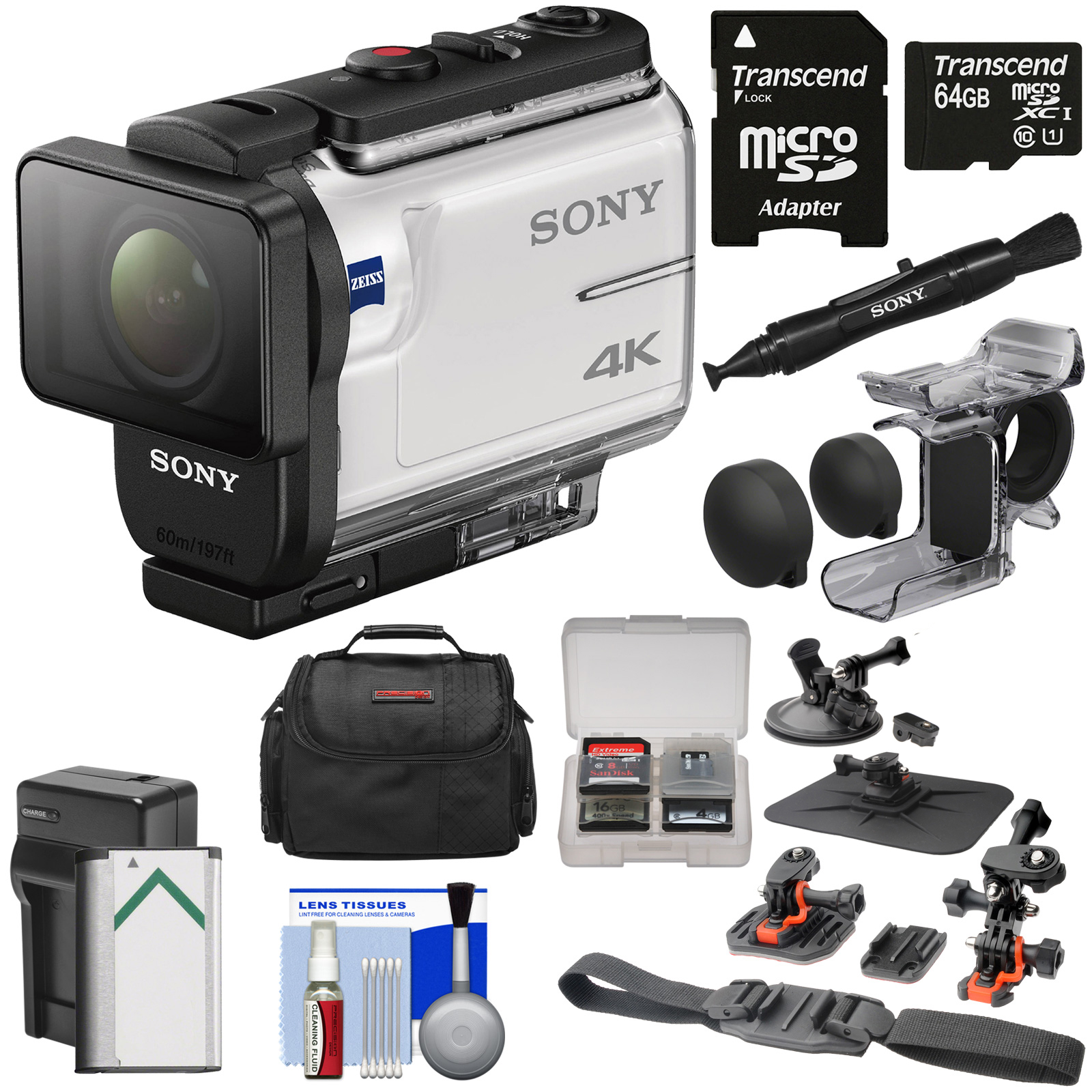 Sony Action Cam FDR-X3000 Wi-Fi GPS 4K HD Video Camera Camcorder with Finger Grip + Suction Cup + Helmet Mount + 64GB Card + Battery & Charger + Case + Kit