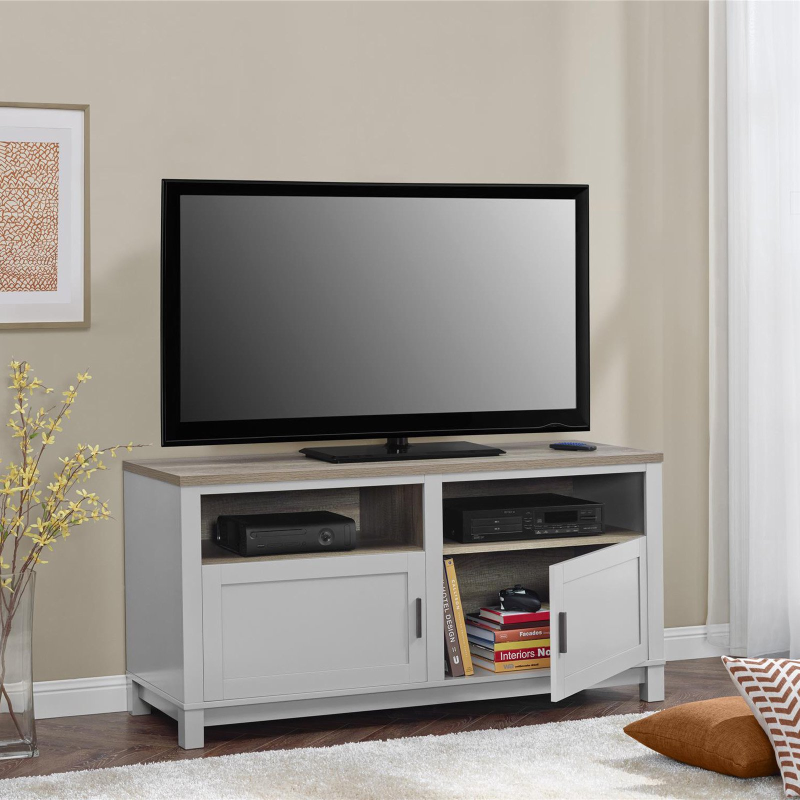 "Ameriwood Home Carver TV Stand for TVs up to 60"" Wide, Gray"