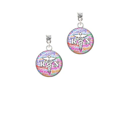 Silvertone Domed Multi Color RN Clear Crystal Post Earrings