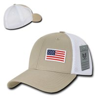 4bd38d5b6d4 Product Image Khaki USA US American Flag Low Crown Structured Mesh Flex  Baseball Fit Hat Cap
