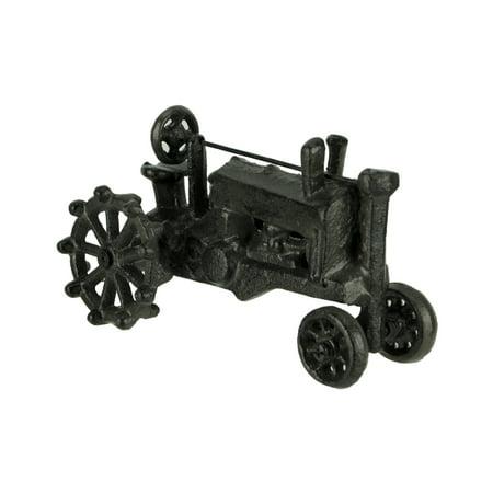 Distressed Dark Brown Wrought Iron Vintage Farm Tractor Statue (Dark Brown Wrought Iron)