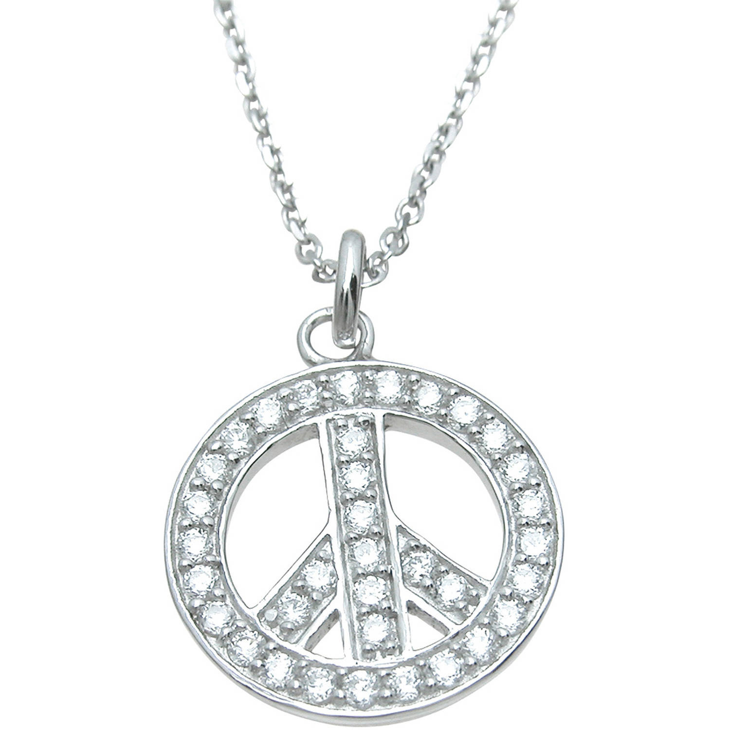 Plutus CZ Sterling Silver High-Polish Peace Sign Pendant