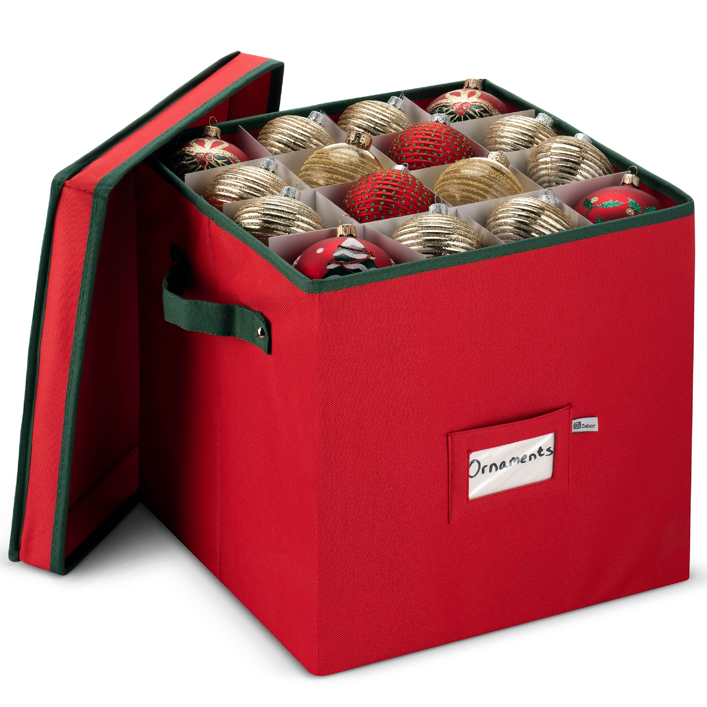 Zober Christmas Ornament Storage Box with Lid 12 x 12 x 12 Adjustable Container with Dividers 600D Oxford Material - Holds up To 64 Round Ornaments - Red