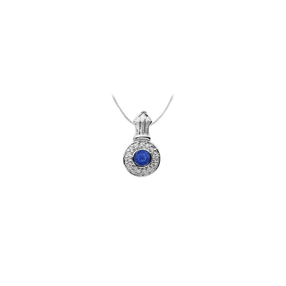 Sapphire and Diamond Pendant 14K White Gold 1.35 CT TGW - image 2 de 2