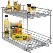 Lynk Professional® Slide Out Double Drawer - Pull Out Two Tier Sliding Under Cabinet Organizer - 14 inch wide x 18 inch deep - Chrome - Multiple Sizes Available
