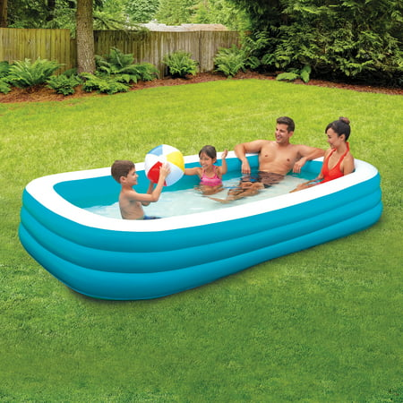 Play Day 10' Deluxe Inflatable Family Pool, Blue and - Small Blow Up Pool