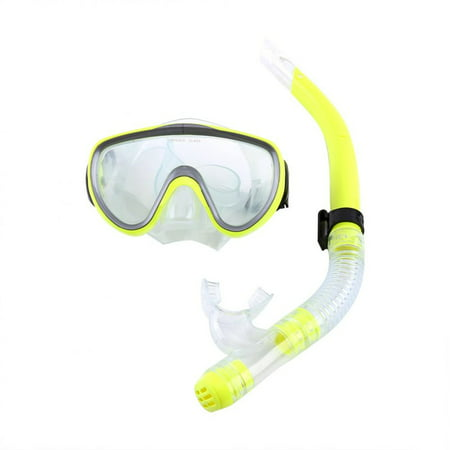 HERCHR Snorkel Set, Diving Tempered Glass Goggles&Semi-Dry Breathing Tube Set, Men Women Snorkel Mask Mouthpiece Snorkeling