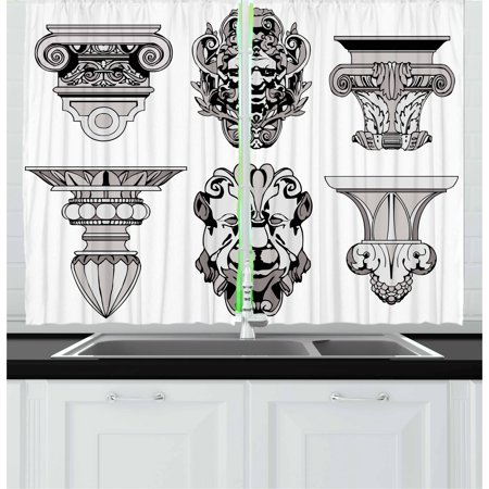 Toga Party Curtains 2 Panels Set, Roman Architecture Theme with Sphinx Lion and Column Antique Design, Window Drapes for Living Room Bedroom, 55W X 39L Inches, Pale Grey and Black, by Ambesonne