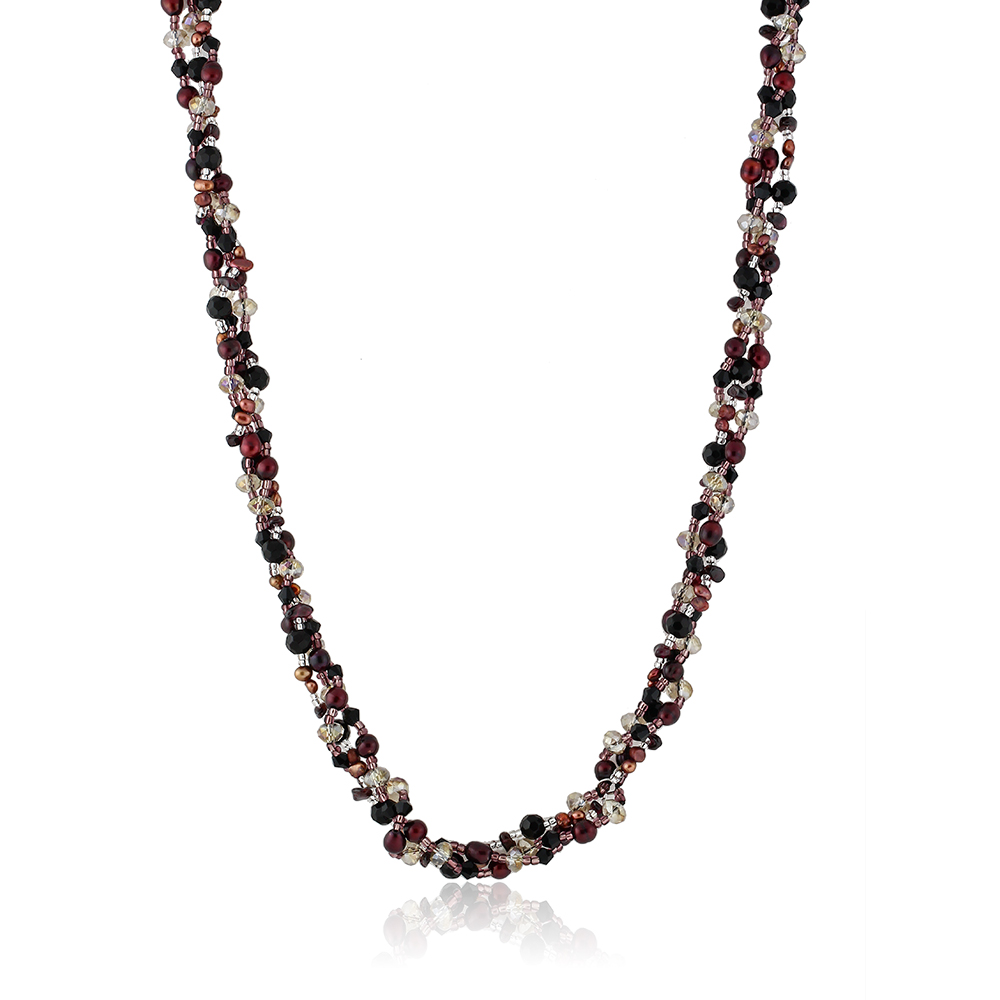 3 Strands Brown Color Cultured Freshwater Pearl & Multi Color Beads Necklace 33""