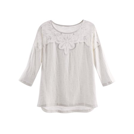 Women's Crochet Accent T-Shirt - 100% Cotton 3/4 Sleeve Extended Hem Fashion Tee