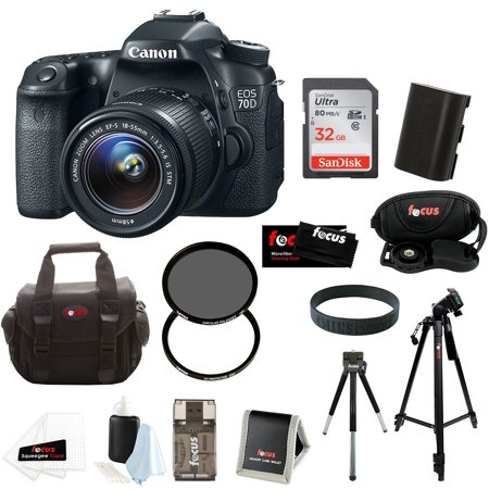 canon eos 70d dslr camera with 18 55mm is stm lens and 32gb accessory bundle. Black Bedroom Furniture Sets. Home Design Ideas