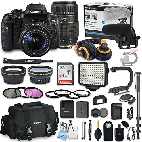 Canon EOS Rebel T6i DSLR Camera Bundle with Canon 18-55mm STM Lens and Tamron 70-300mm Di LD Zoom Lens + Professional Video Accessory Bundle includes ECKO Headphones, Microphone, LED Light and More..
