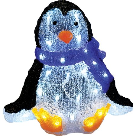 11.5 Lighted Commercial Grade Acrylic Sitting Baby Penguin Christmas Display Decoration