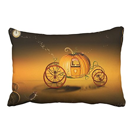 WinHome Halloween Pumpkin Carriage Mice And Clock Orange And Black Decorative Pillowcases With Hidden Zipper Decor Cushion Covers Two Side 20x30 inches