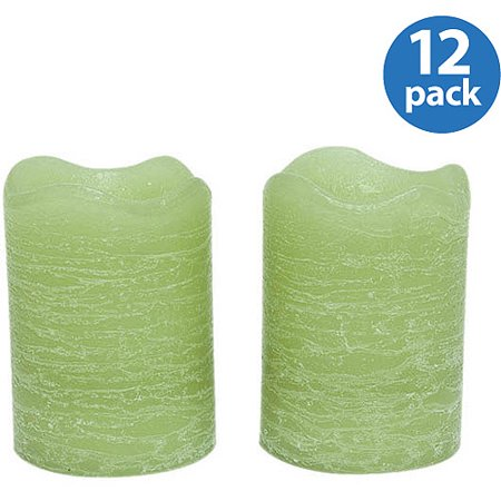 Inglow Flameless Rustic Votive Candles, Citrus Sage, Set of 12