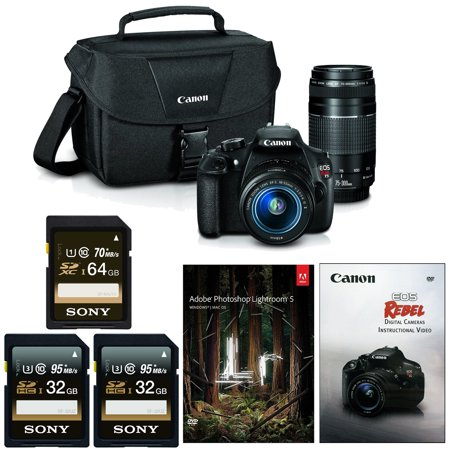 Canon EOS Rebel T5 DSLR Camera w/ 18-55mm & 75-300mm Lenses & Adobe