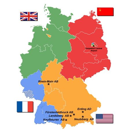 LAMINATED POSTER Map of the Allied Occupation Zones of Germany, 1947, with USAF air bases highlighted. Deutsch: Karte Poster Print 24 x