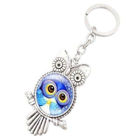Retro Owl Time Gemstone Metal Key chain Glass Key chain Inspirational Stones Key Chain