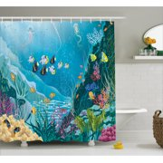 Ocean Decor Shower Curtain Underwater Landscape With Tropical Fish And Algae Polyps Descriptive Nautical Image
