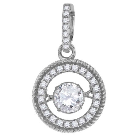 Sparkle Shades - 925 Sterling Silver Womens Sparkling Shaking CZ in Center of Round Pendant Charm