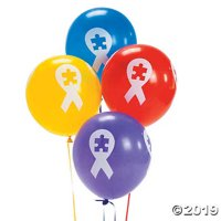 "Autism Awareness Ribbon 11"" Latex Balloons"