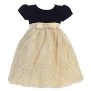 Little Girls Black Gold Glitter Velvet Corded Tulle Occasion Dress 2T-6