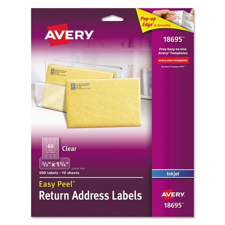 - Easy Peel Clear Return Address Labels for Ink Jet Printers, 2/3 X 1.75-Inches, Pack of 600 (18695), Great for shipping, mailing, greeting cards, invitations, gift.., By Avery