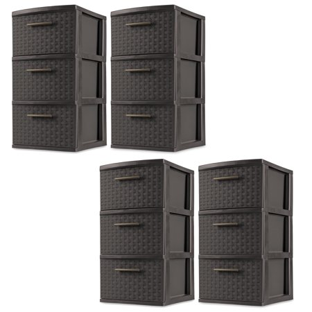 Sterilite 3 Drawer Wicker Weave Decorative Storage Tower, Espresso (4