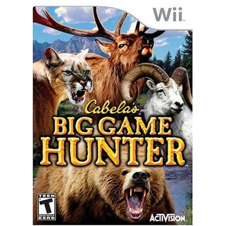 Cabelas Big Game Hunter - Nintendo Wii (Refurbished) Includes the Wii video game disc, case, and artwork in excellent condition.    Wii disc has a mirror finish, is guaranteed working and is backed by a 90-day, hassle-free warranty from the re-manufacturer.    Cabelas Big Game Hunter - Nintendo Wii (Refurbished)