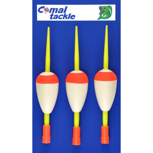 "Comal 1.62"" Teardrop Cap Stick Float, Red/White, 3pk"