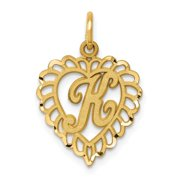 14k Yellow Gold Solid Satin Initial K Charm - .9 Grams - Measures 22.6x15mm Gifts for Women