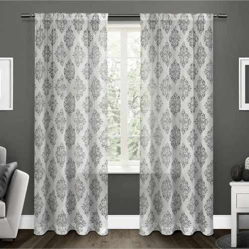 Exclusive Home Curtains 2 Pack Nagano Medallion Belgian Linen Rod Pocket Curtain Panels