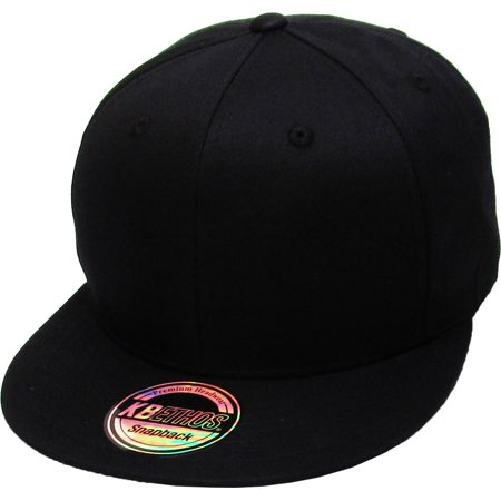 Solid Cotton Snapback Flat Brim Baseball Cap Adjustable Classic 6 Panel Hat