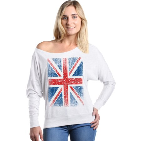 Shop4Ever Women's Union Jack British Flag UK Off Shoulder Long Sleeve (Clarks.com Uk)