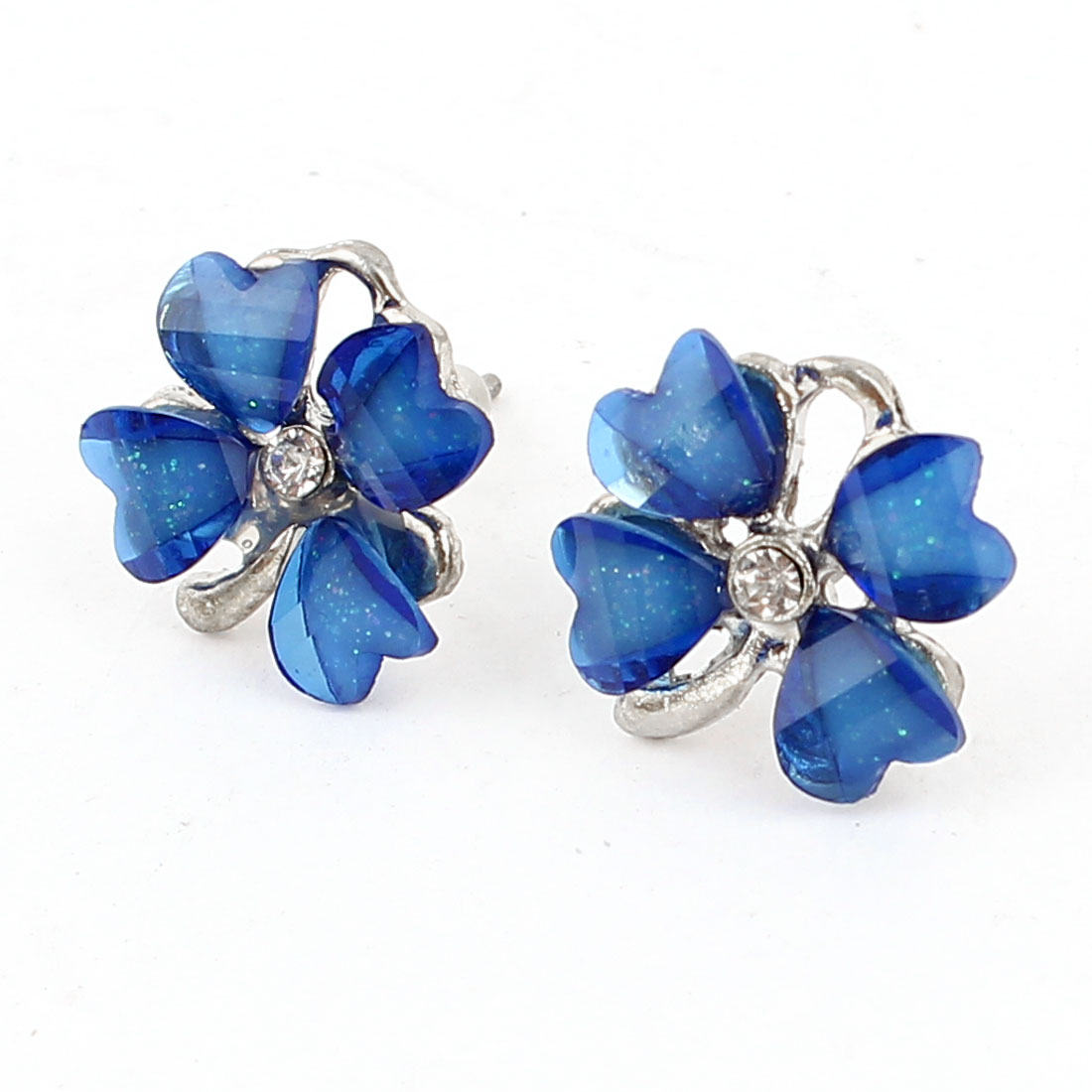 Unique Bargains Lady Rhinestone Inlaid Plastic Flower Shaped Stud Earrings Blue Pair