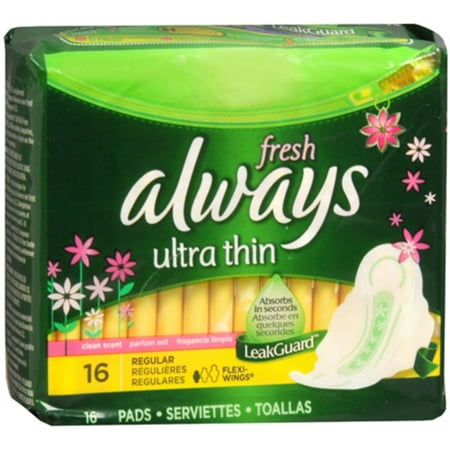 - Always Fresh Ultra Thin Pads Regular Flexi-Wings Clean Fresh Scent 16 Each (Pack of 6)