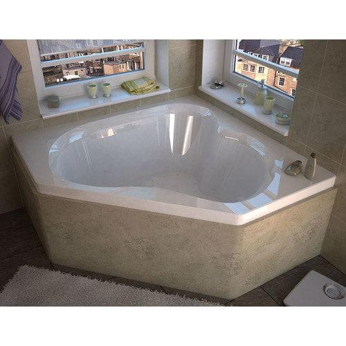 Spa Escapes Tobago 59.25'' x 59.25'' Corner Air Jetted Bathtub with Center Drain