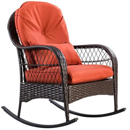 Gymax Patio Rattan Wicker Rocking Chair Porch Deck Rocker Outdoor Furniture W/ Cushion - image 2 of 10