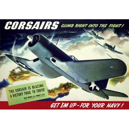 Right Outdoor Art (Corsairs Climb Right Into The Fight Get em Up - For Your Navy  Jon Whitcomb Canvas Art -  (24 x 36) )