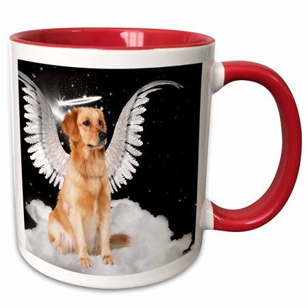 3dRose Golden Retriever Angel Dog Sitting on a Cloud with a cute Halo and Angel Wings - Two Tone Red Mug, 11-ounce