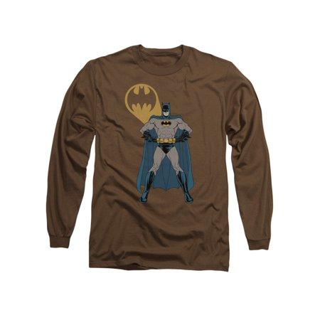 Batman DC Comics Arms Akimbo Bats Adult Long Sleeve T-Shirt Tee (Adult Batman Shirt)