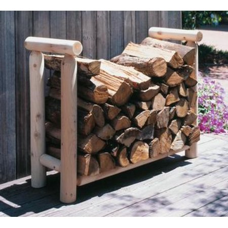 4' Northern Natural Cedar Log-Style Wooden Firewood Rack