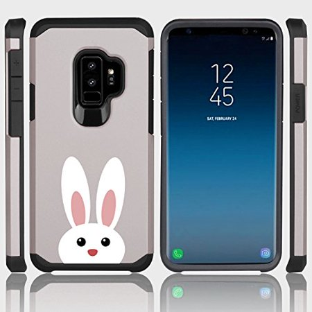 For Samsung Galaxy Shockproof Impact Hard Soft Case Cover Peeking Bunny Rabbit (Silver for Samsung Galaxy S9)
