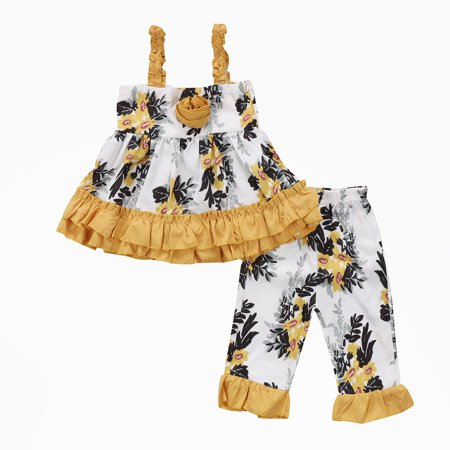 Baby Girl Clothes Floral Ruffle Dress Leggings Pant Outfits Set