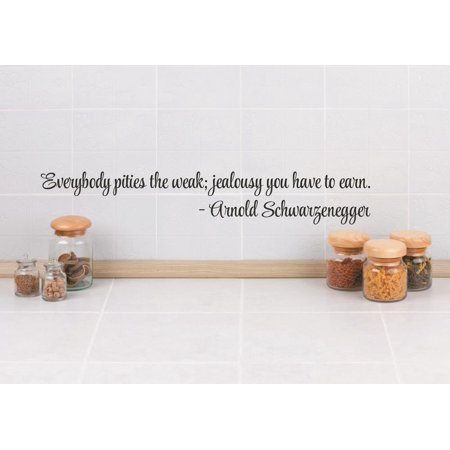 Top Selling Decals   Prices Reduced Vinyl Wall Sticker   Everybody Pities The Weak  Jealousy You Have To Earn    Arnold Schwarzenegger Quote 4X16